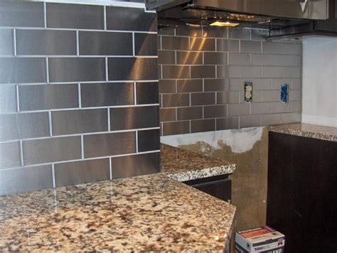stainless steel kitchen backsplash tiles stainless steel subway tile backsplash for the home