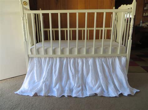 4 Sides White Linen Ruffle Crib Skirt Linen Baby Crib Skirt Ruffle Crib Bed Skirt