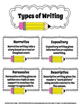 types of writing paper freebie types of writing anchor chart writing
