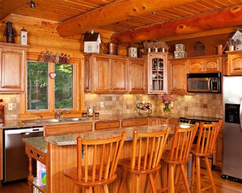 Log Cabin Kitchen Designs Traditional Kitchen Log Cabin Decorating Design Pictures Remodel Decor And Ideas Page 27