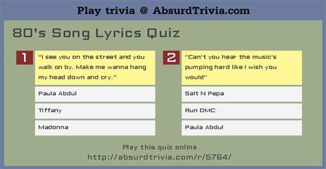 song quiz 80 s song lyrics quiz