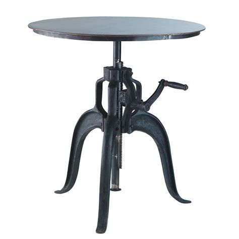 Metal Industrial Round Dining Table In Black D 75cm Edison Black Metal Dining Table