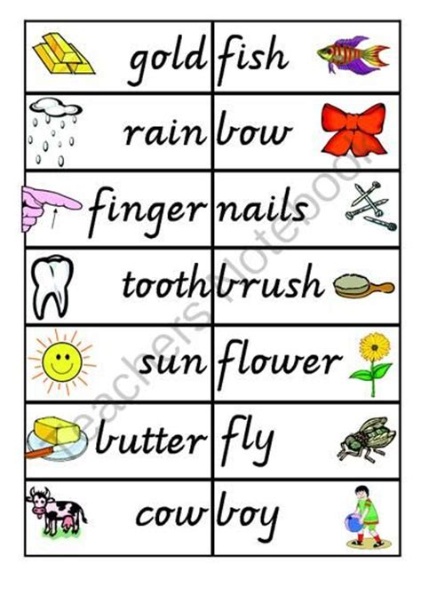 printable compound word matching games compound word games phonics pinterest