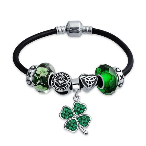 925 Silver Green Clover Irish Celtic Charm Bracelet Fits Pandora