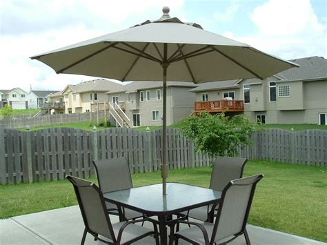 Patio Size by Patio Furniture With Umbrella Size Home Design Ideas