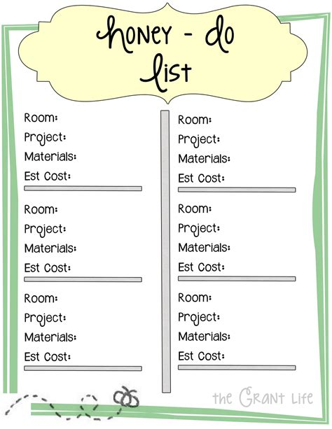honey do list printable the grant life