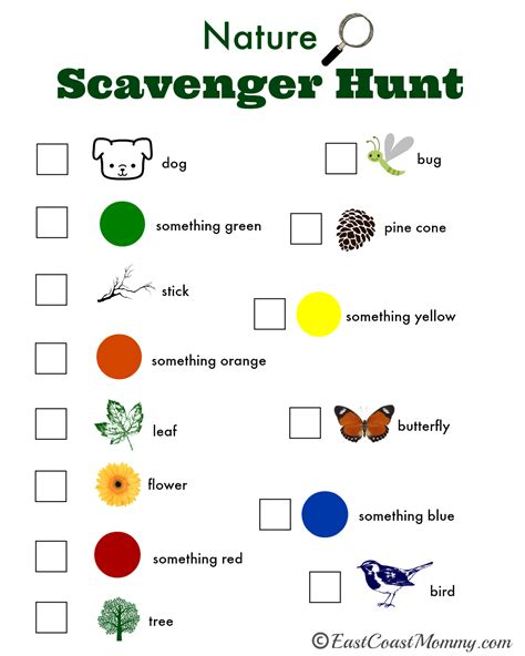 scavenger hunt checklist template east coast nature scavenger hunt with free printable