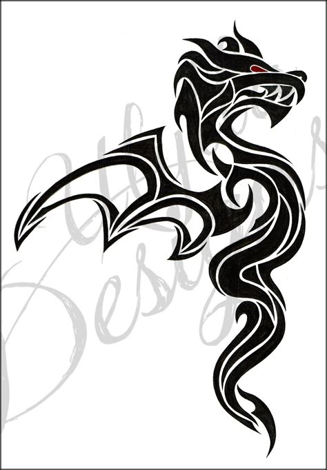 simple tattoo art designs simple tribal dragon tattoo design with red eye by ulylla