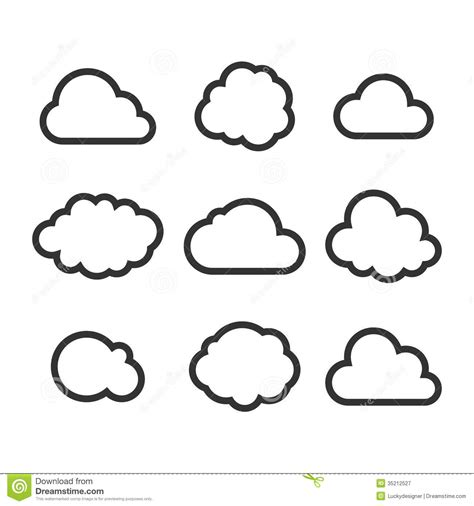 cloud icon set stock vector illustration  connection