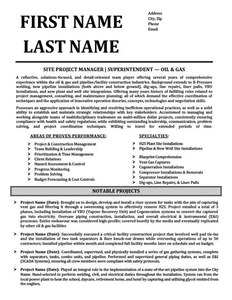 superintendent oil gas resume template premium