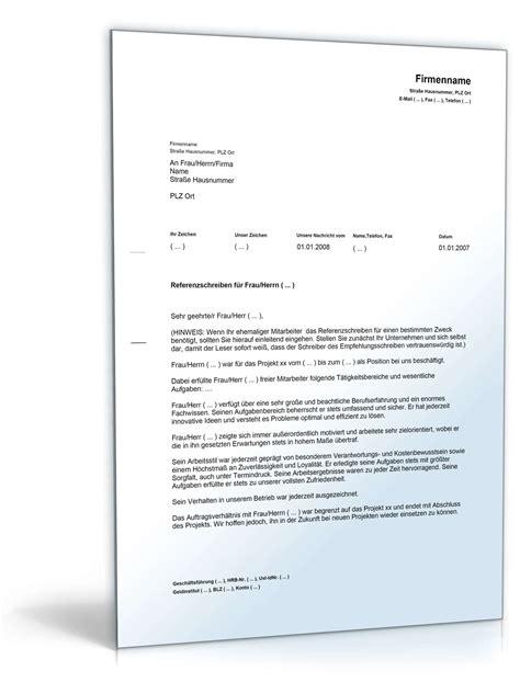 referenzschreiben firma muster referenzschreiben f 252 r mitarbeiter musterbrief zum