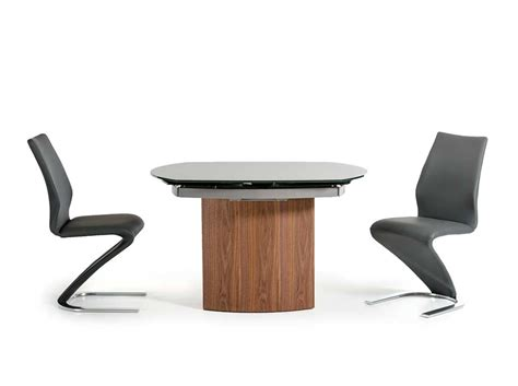 modern extendable walnut base dining table vg137 modern