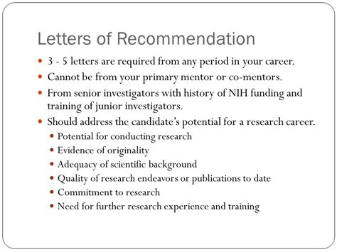 Letter Of Recommendation From Research Mentor writing nih career development k awards ppt