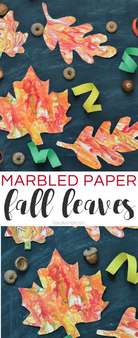 Marbled Paper Craft - marbled paper fall leaves craft typically simple