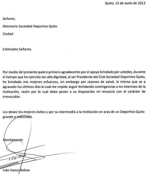 Carta De Renuncia Ejemplo Ecuador d quito oficializ 243 la renuncia de iv 225 n vasco a la presidencia club deportes