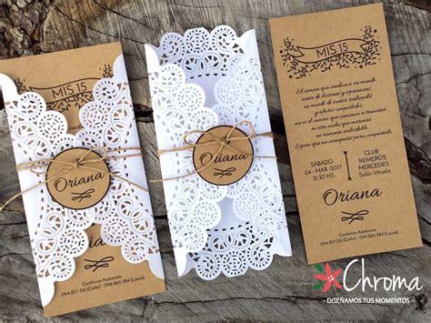 invitaciones con blondas de papel piku tarjetas invitacion boda casamiento blondas rustico kraft 35 00 en mercado libre