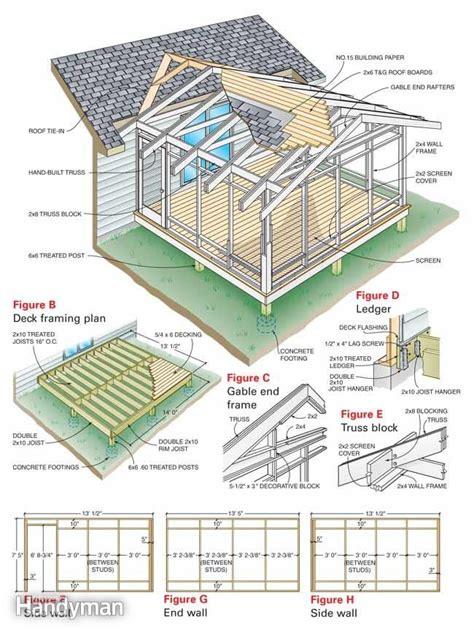screen house plans the family handyman screen porch construction