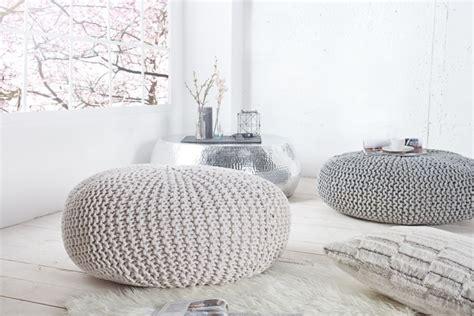 sitzpouf strick design strick pouf leeds wei 223 70cm hocker baumwolle in