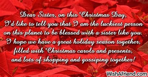 dear sister   christmas day christmas message  sister