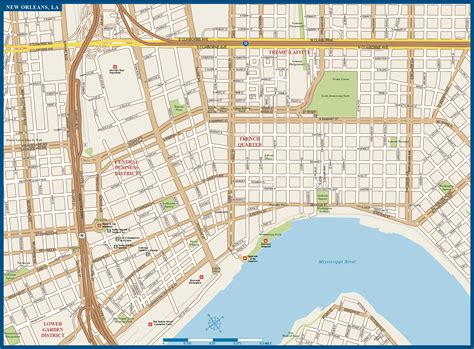 new orleans map new orleans downtown map digital creative