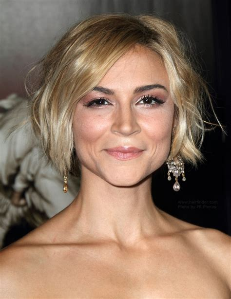 tousled short hair real people samaire armstrong short and tousled hairstyle colored