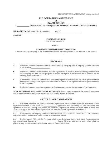 Usa Llc Operating Agreement For Single Member Company Legal Forms And Business Templates New Mexico Llc Operating Agreement Template