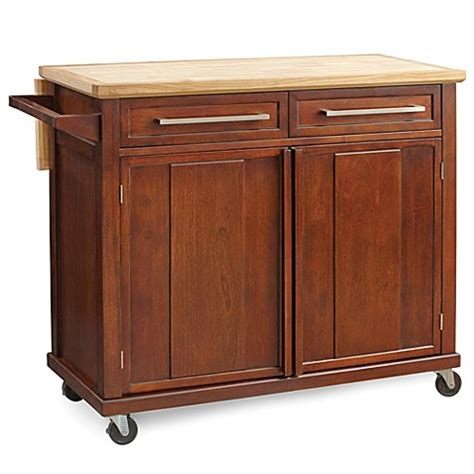 kitchen rolling islands real simple 174 rolling kitchen island in walnut bed bath