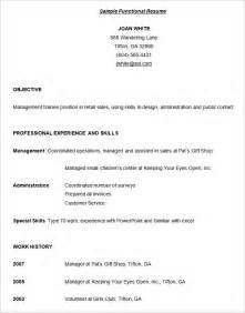 functional resume template free functional resume template 15 free sles exles