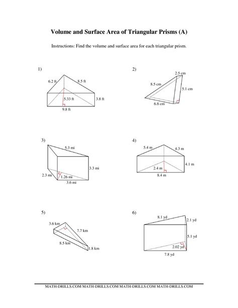Surface Area Of Triangular Prism Worksheet volume and surface area of triangular prisms a