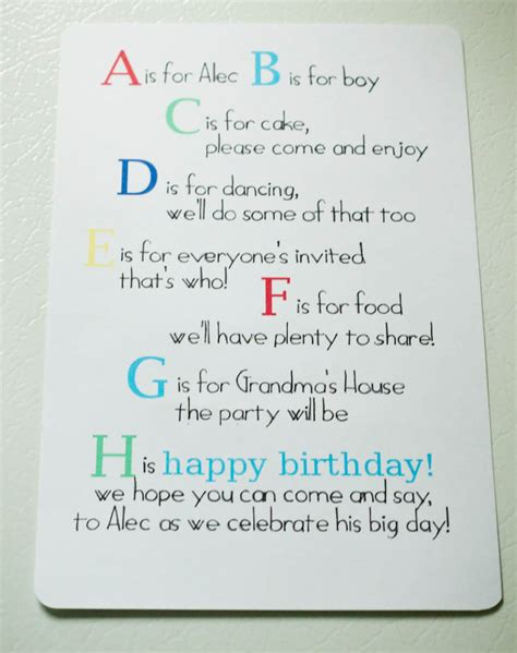 Invitation Letter For S Birthday A Is For Alec Abc 1st Birthday My Insanity