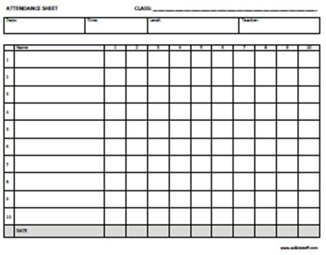attendance worksheet lesupercoin printables worksheets