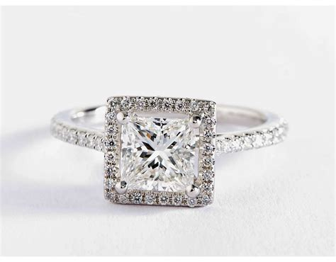 princess cut floating halo engagement ring in 14k