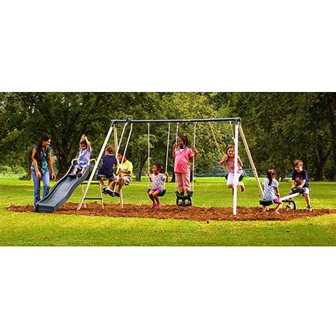 flexible flyer swing set flexible flyer backyard fun time metal swing set walmart com