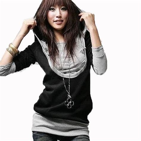 Blouse Korea Fashion Casual new 2016 fashion korean style sleeve hooded casual hoodies sweatshirt blouse tops