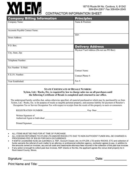 customer setup form template forms xylem ltd