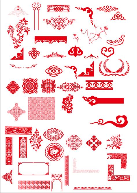 chinese design elements vector china style ornaments with frame vector vector frames