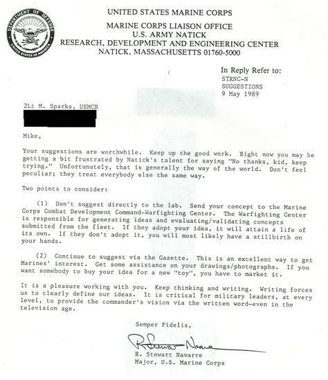 Acceptance Letter For Service usmc statement of service letter