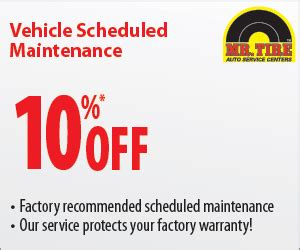 mr tire 10% off sheduled maintenance coupon october 2015