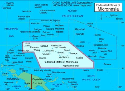 micronesia map micronesia population area capital cities