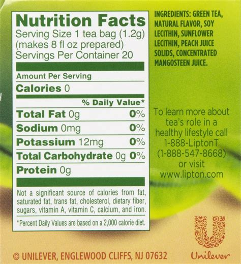 facts about green lipton tea ingredients