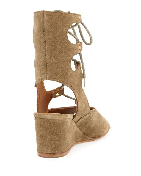 wedge sandal chlo 233 lace up suede gladiator sandals in brown