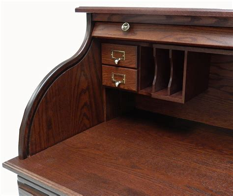 roll top office desk 54 1 2 quot w deluxe solid oak roll top desk w laptop clearance
