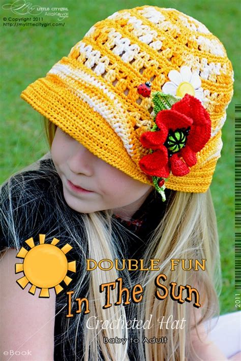yellow hat pattern double fun in the sun crochet hat pattern for kids my