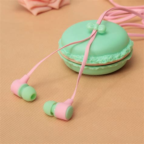 Headset Karakter Macarons 6 portable in ear 3 5mm earphone headset macaron storage for phone tablet pc alex nld