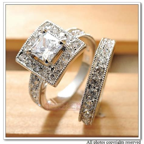 wedding ring alloy white gold plated cz zirconia