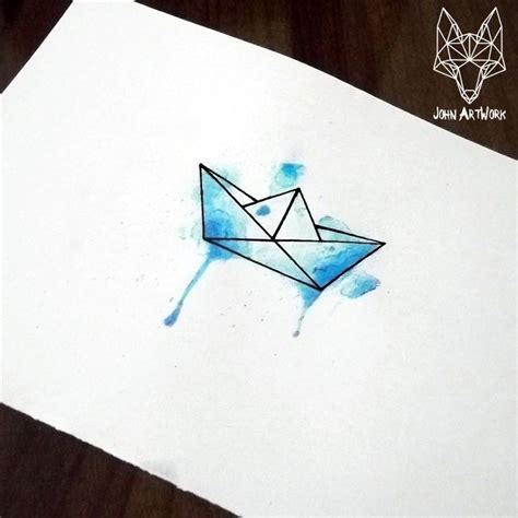 le origami boat watercolor origami boat google search tattoos and such