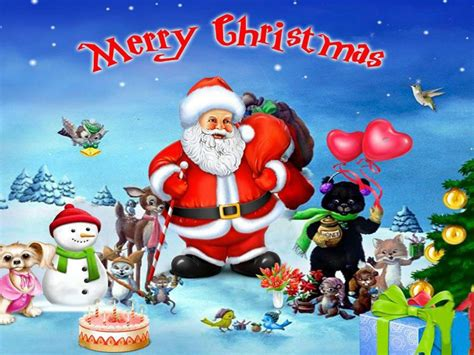 merry christmas  santa clause   merry friends desktop hd wallpaper