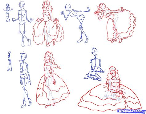 How To Draw Princesses Step By Step Figures People How To Draw A Princess Dress Step By Step Printable