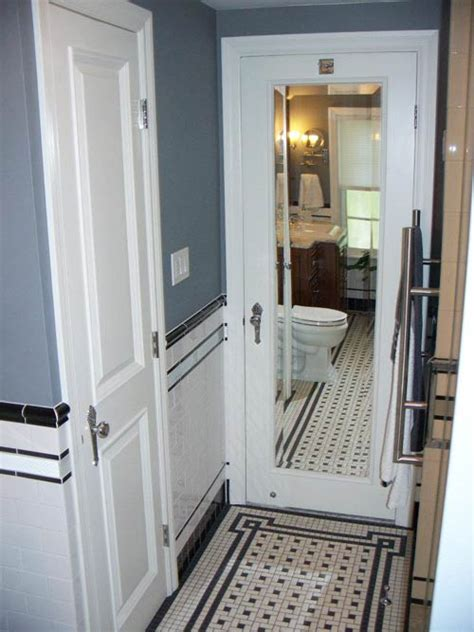 vintage tile bathroom mirrored door retro renovation