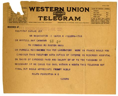How To Search For On Telegram Telegram From Ralph Pemberton M D To Myrtelle M Canavan M D 183 Center For The